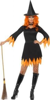 Costume strega arancione e nera donna Halloween