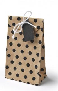 6 sacchettini di cartone a pois