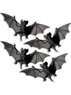 Decorazione Halloween: 4 pipistrelli di plastica