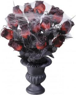 Bouquet di rose rossa con ragnatela Halloween