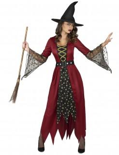 Costume da strega rosso e oro con stelle per donna
