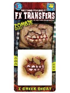 Tatuaggio adesivo guancia lacerata da zombie halloween