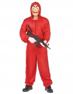 Costume tuta rossa da rapinatore artista per adulto