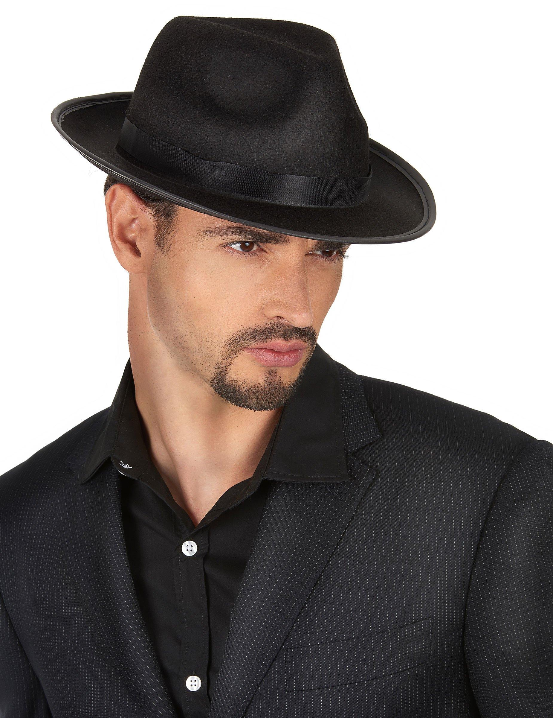 Cappello borsalino nero per adulti-1 9ab39d434cde