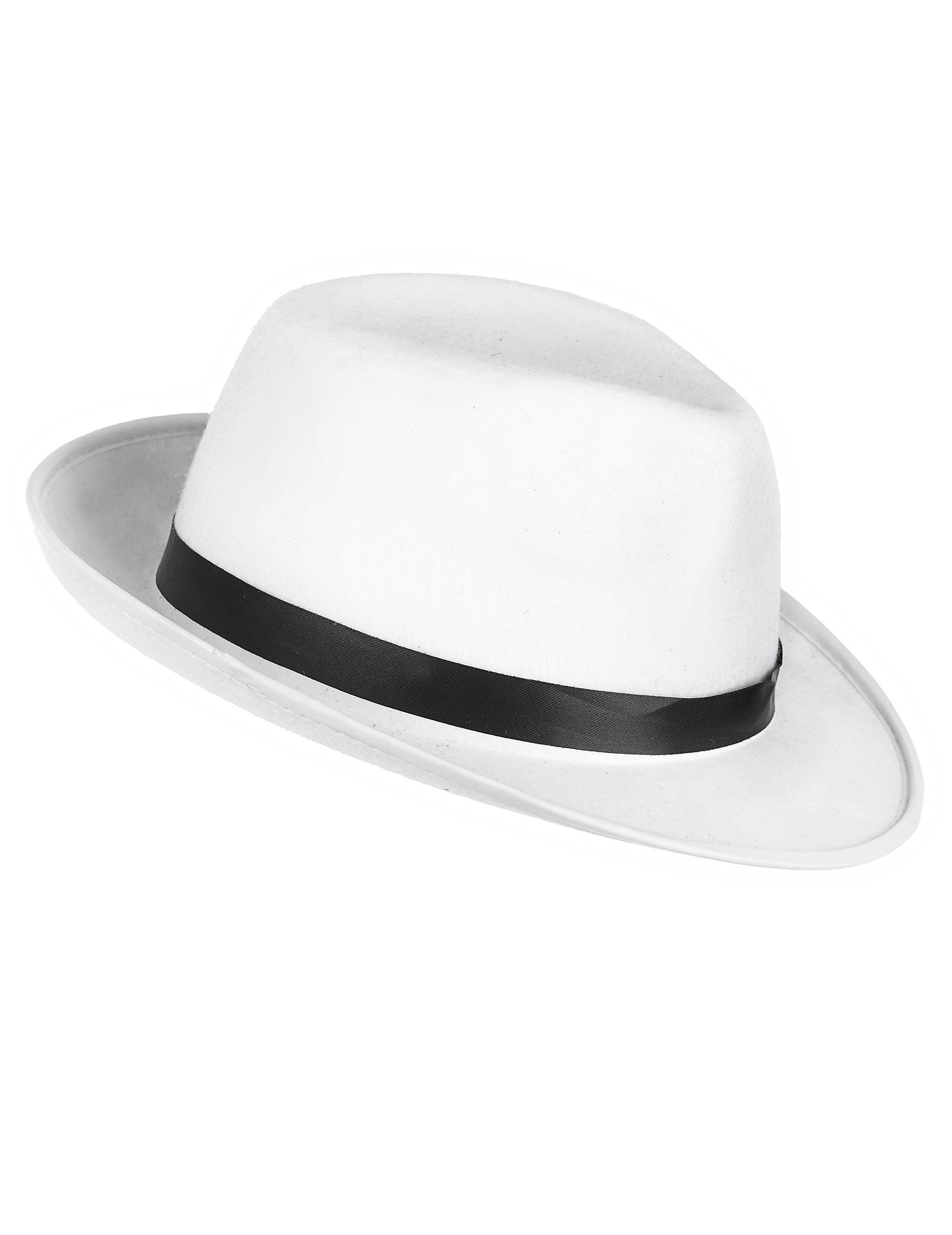 Cappello bianco e nero da gangster adulti  Cappelli 3fdbe67c0940