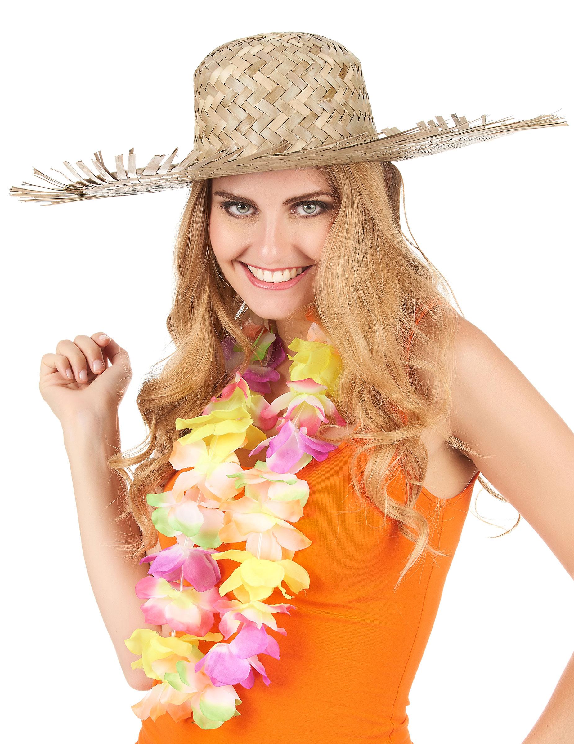 Accessorio cappello di paglia Hawaii adulto dae2359bb8e3
