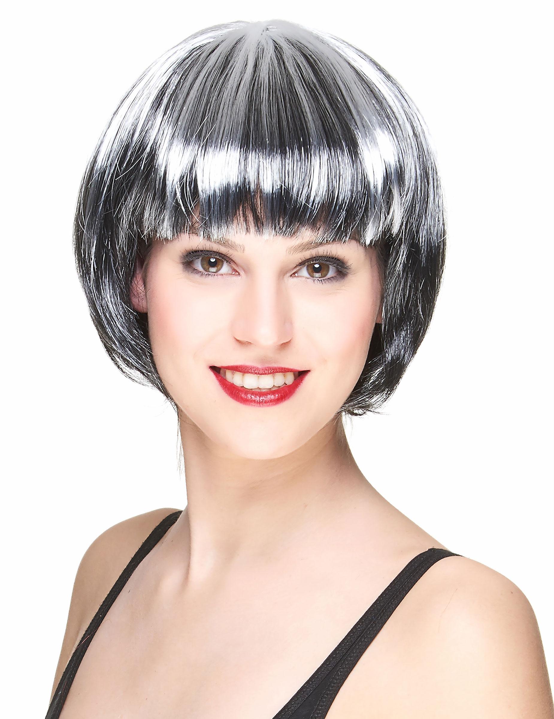 Parrucca caschetto nero e bianco donna: Parrucche,e ...