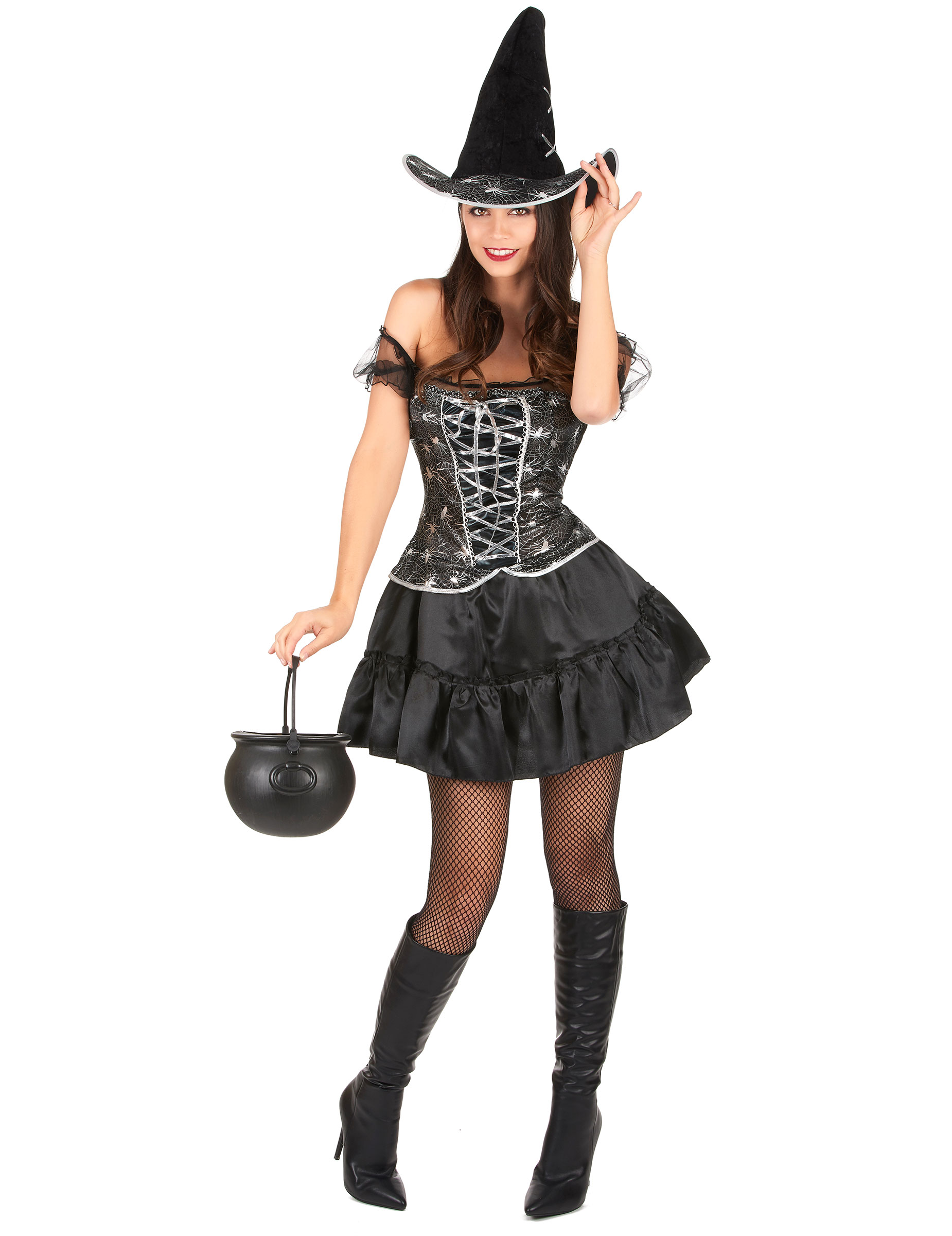 Costume da strega sexy con ragnatele per donna d0bced2eff7e