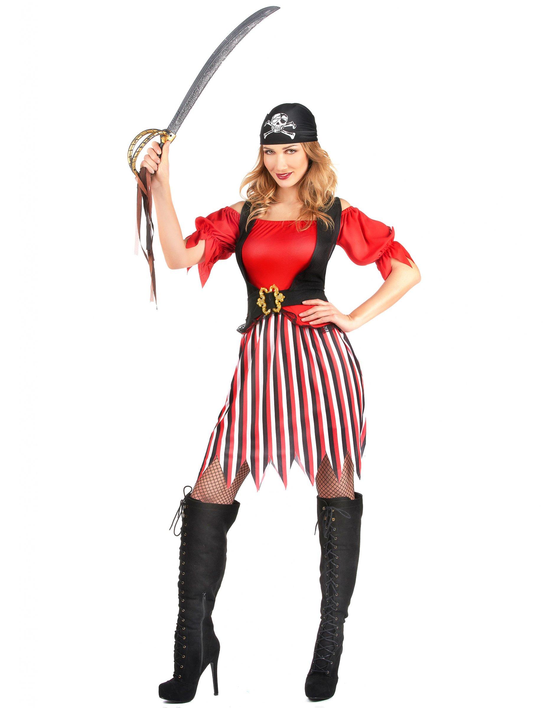 Costume pirata con gonna a righe donna: Costumi adulti,e ...