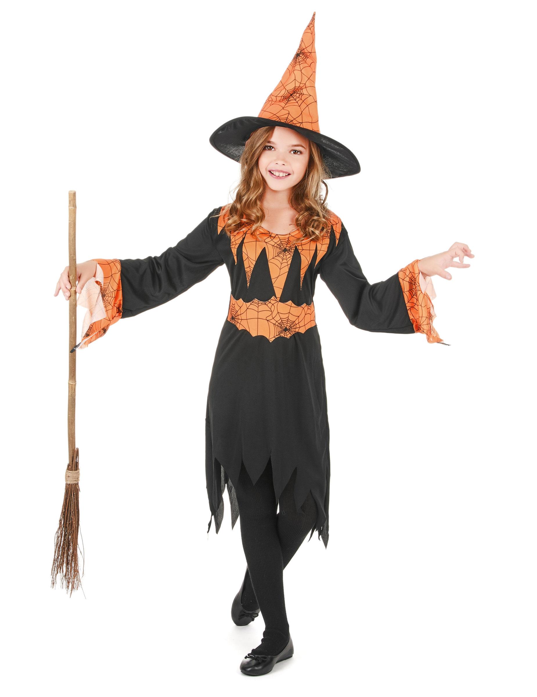Costume da strega nero e arancione bambina Halloween acbfa1878d37