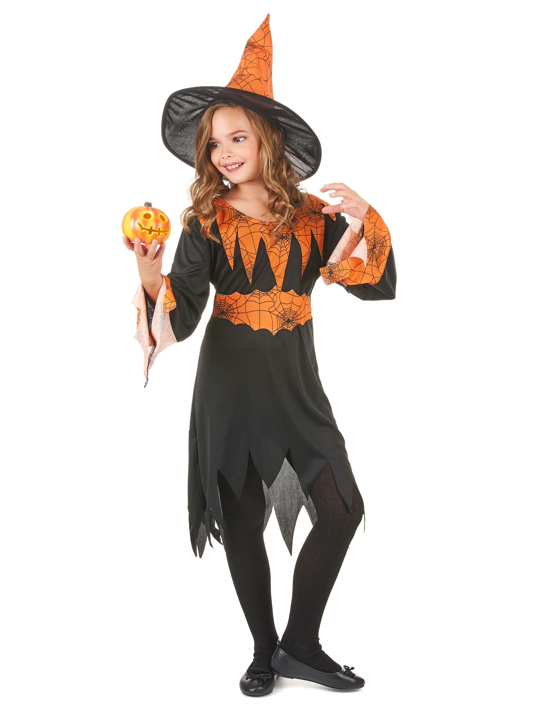 Costume da strega nero e arancione bambina Halloween-1 18f4c1bfb1d3