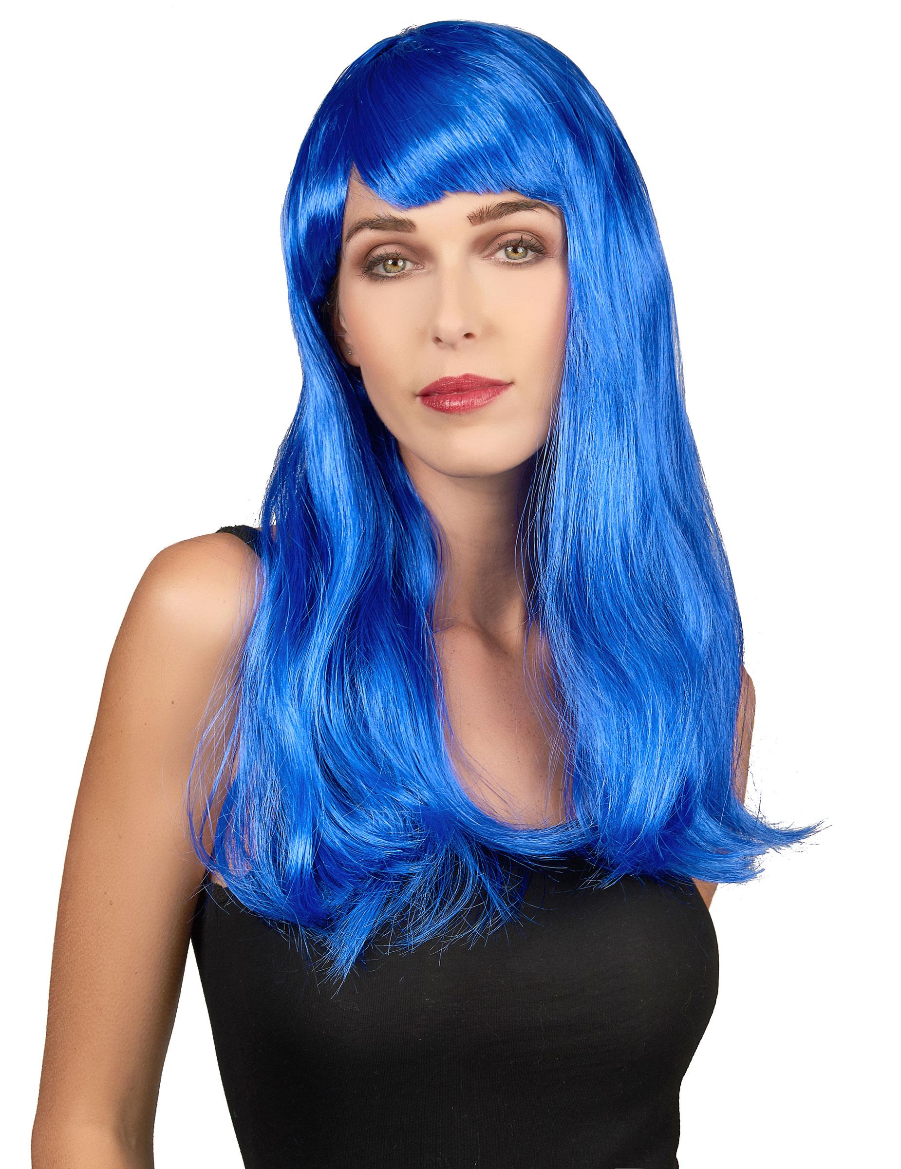 Parrucca lunga capelli blu donna: Parrucche,e vestiti di ...