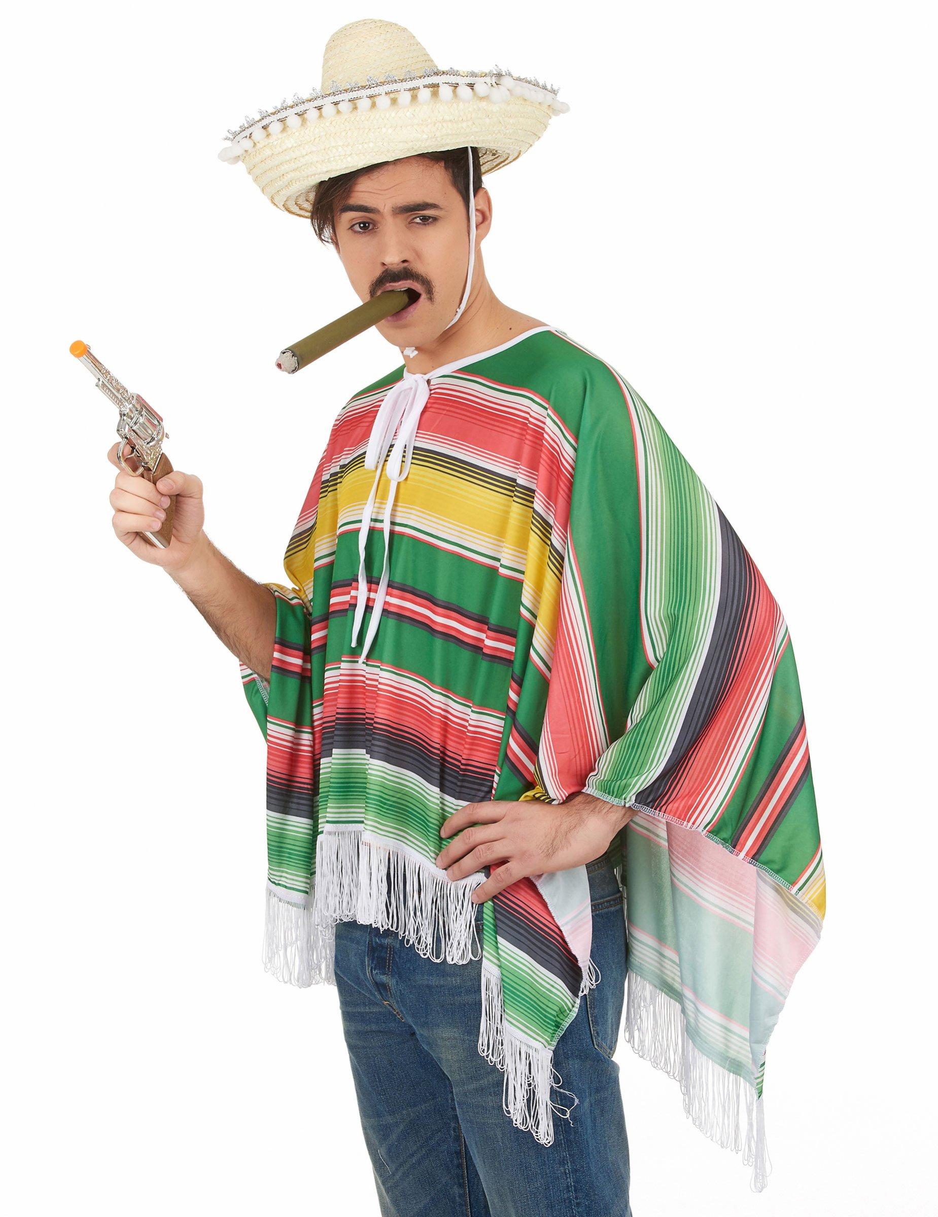 Costume poncho e sombrero messicano uomo  Costumi adulti d7b797eaa841