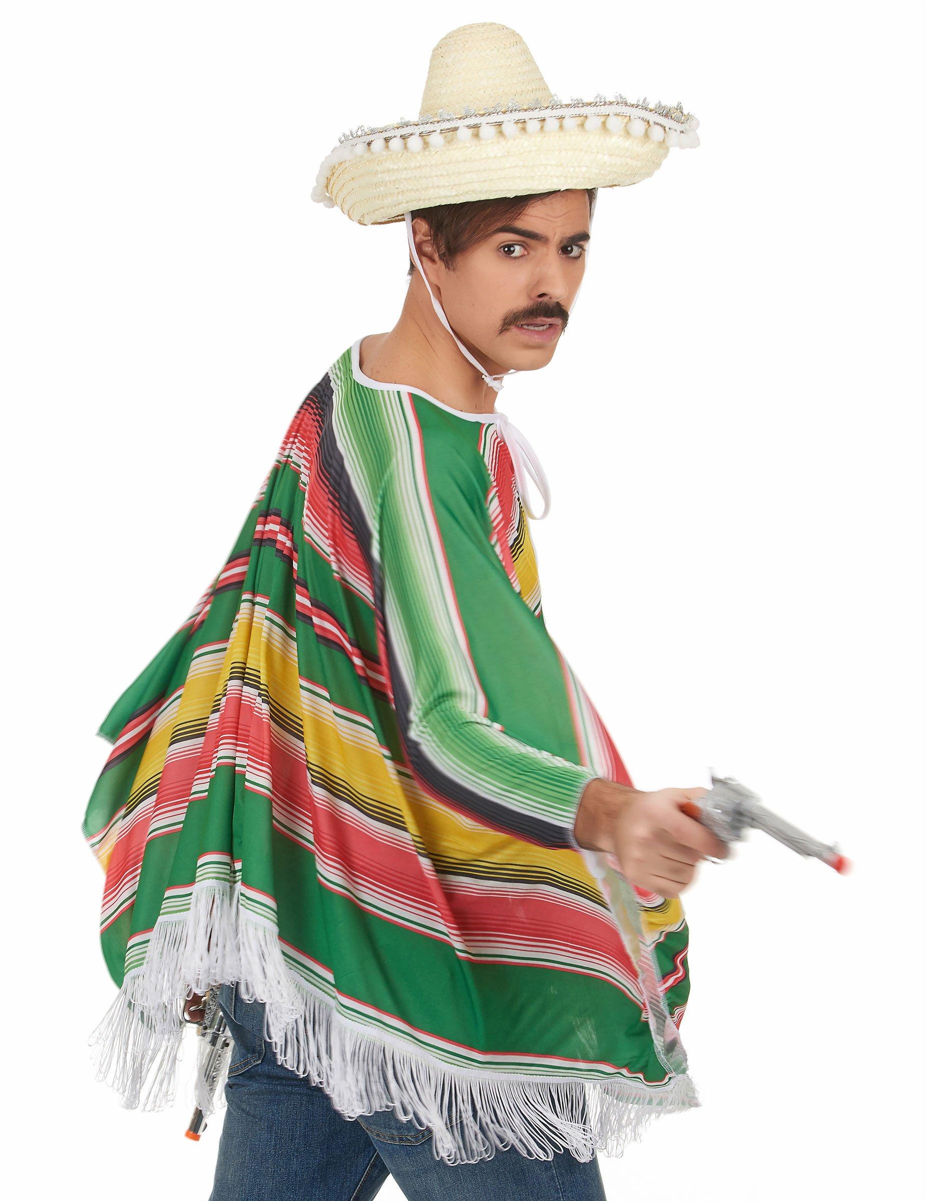 Costume poncho e sombrero messicano uomo  Costumi adulti 8e11bd717d74