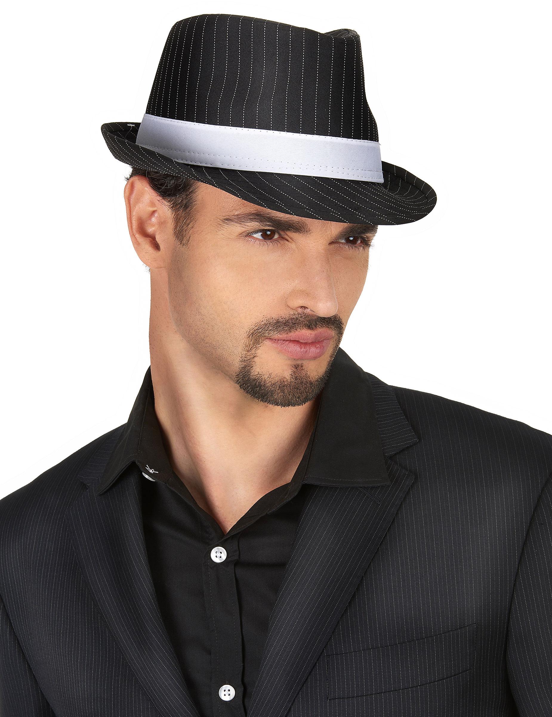 Cappello gangster nero a righe adulto  Cappelli 134483112a2e