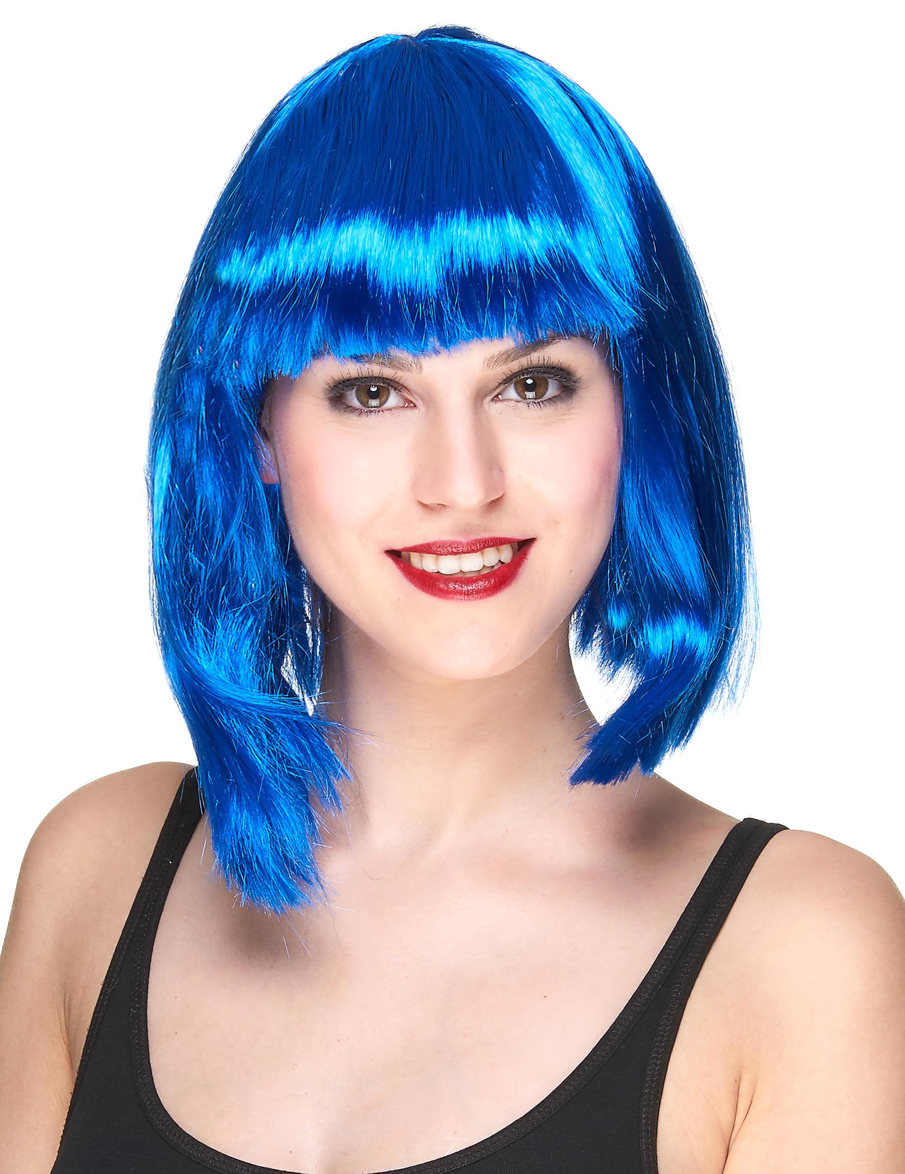 Parrucca corta blu donna: Parrucche,e vestiti di carnevale ...