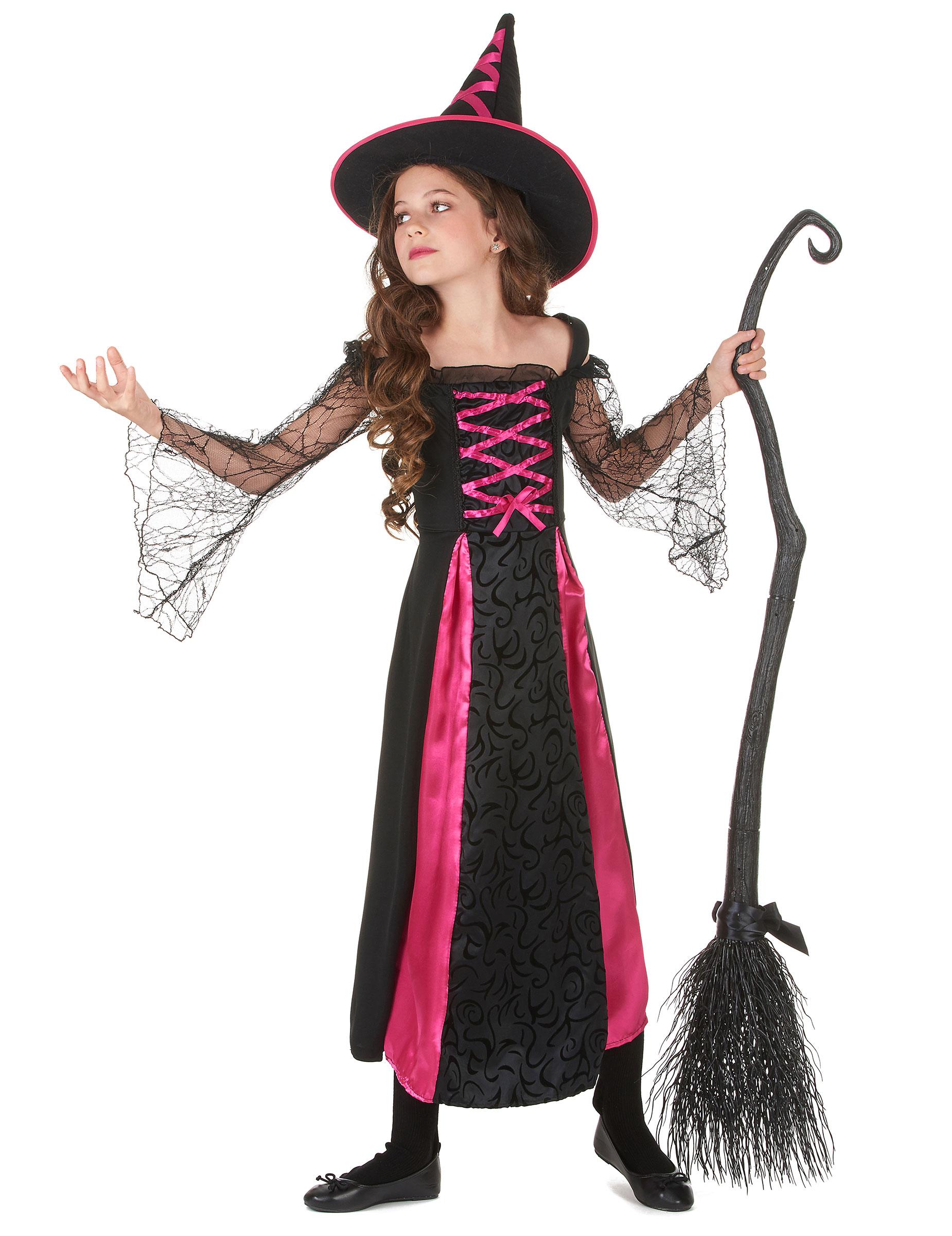 Costume da strega fucsia bambina Halloween-1 4d3924257e2e