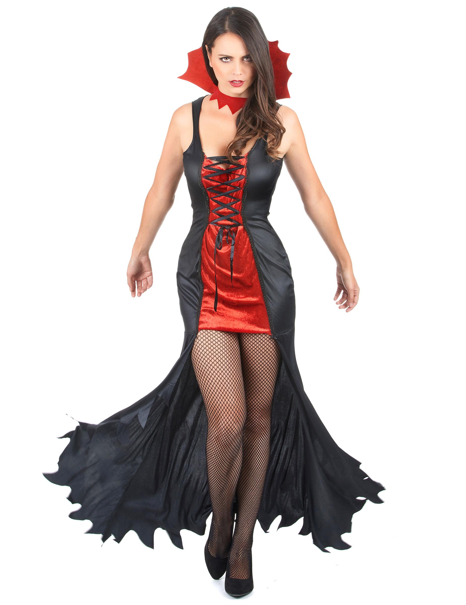 come ordinare vestibilità classica in uso durevole Costume vampiro nero e rosso donna Halloween