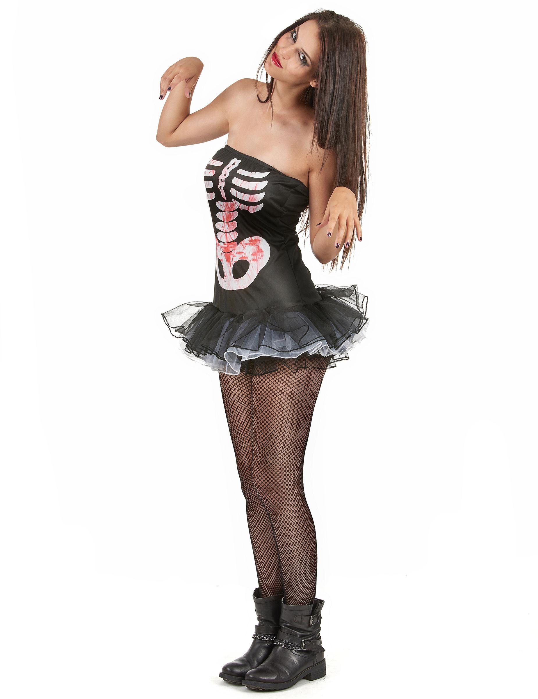Costume scheletro sexy adulto Halloween per donna-1 9b308c2f75ee
