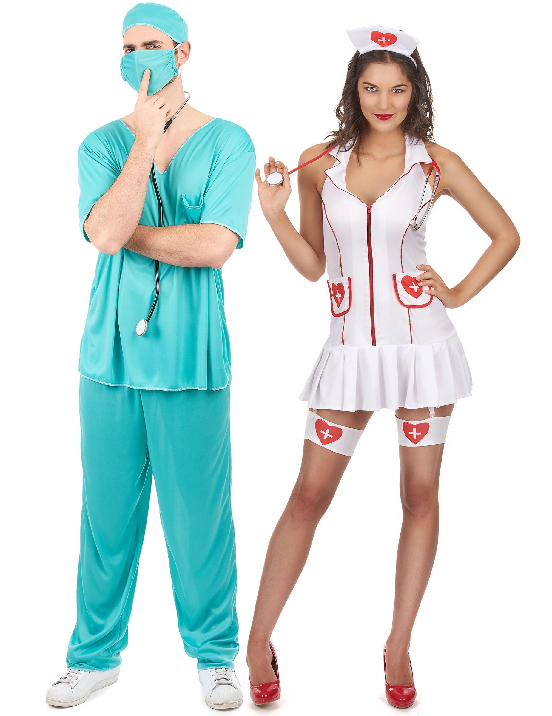 Medico /& Infermiera Costume Di Halloween Costume COPPIE Scrubs Uniforme Medium