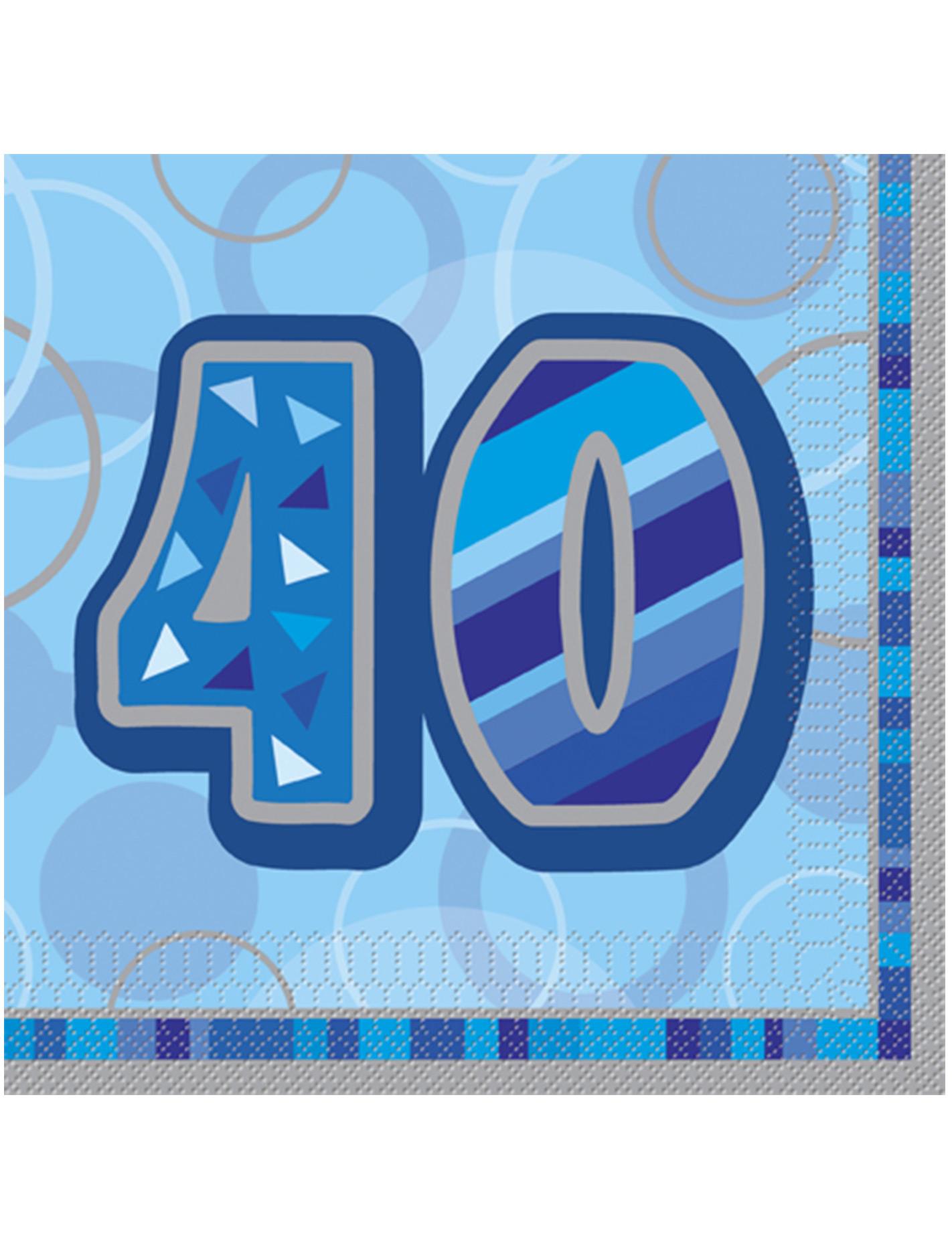 Festa Compleanno 40 Anni Uomo confezione di 16 tovaglioli per i 40 anni di compleanno colore blu