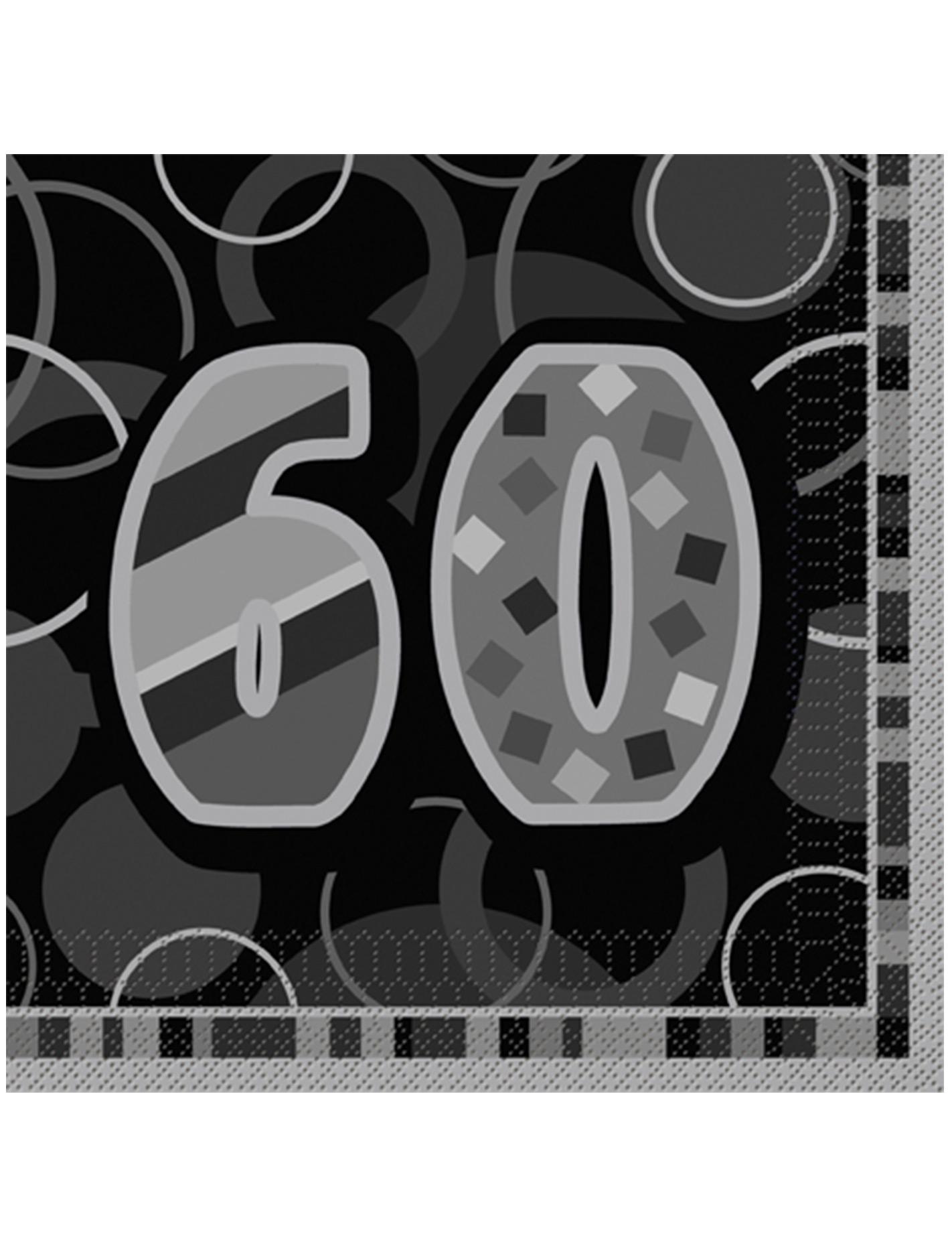 Confezione di 16 tovaglioli per i 60 anni di compleanno - Colore per numero stampabili ...