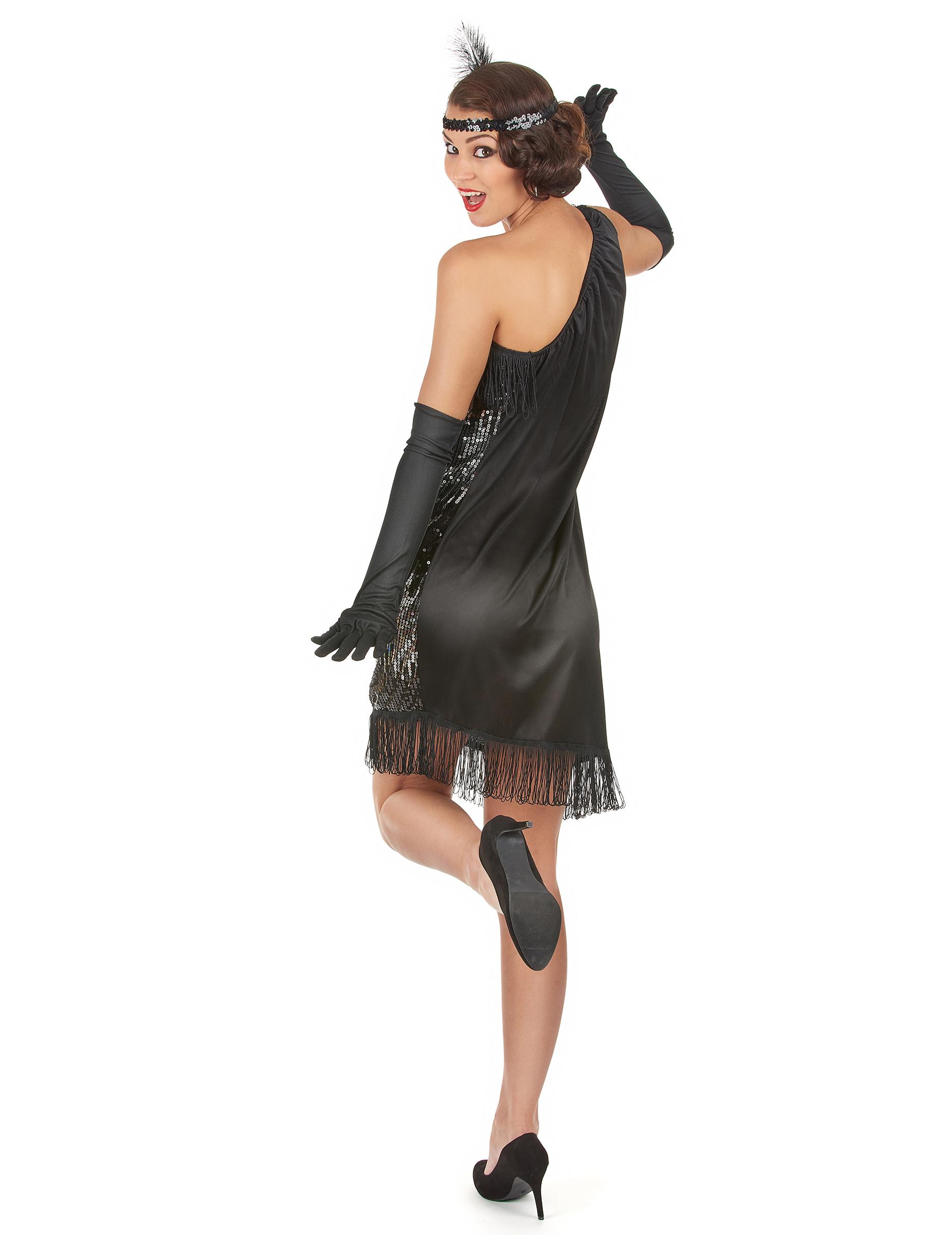 99d238d06fb5 Costume anni 20 da donna nero e argento  Costumi adulti