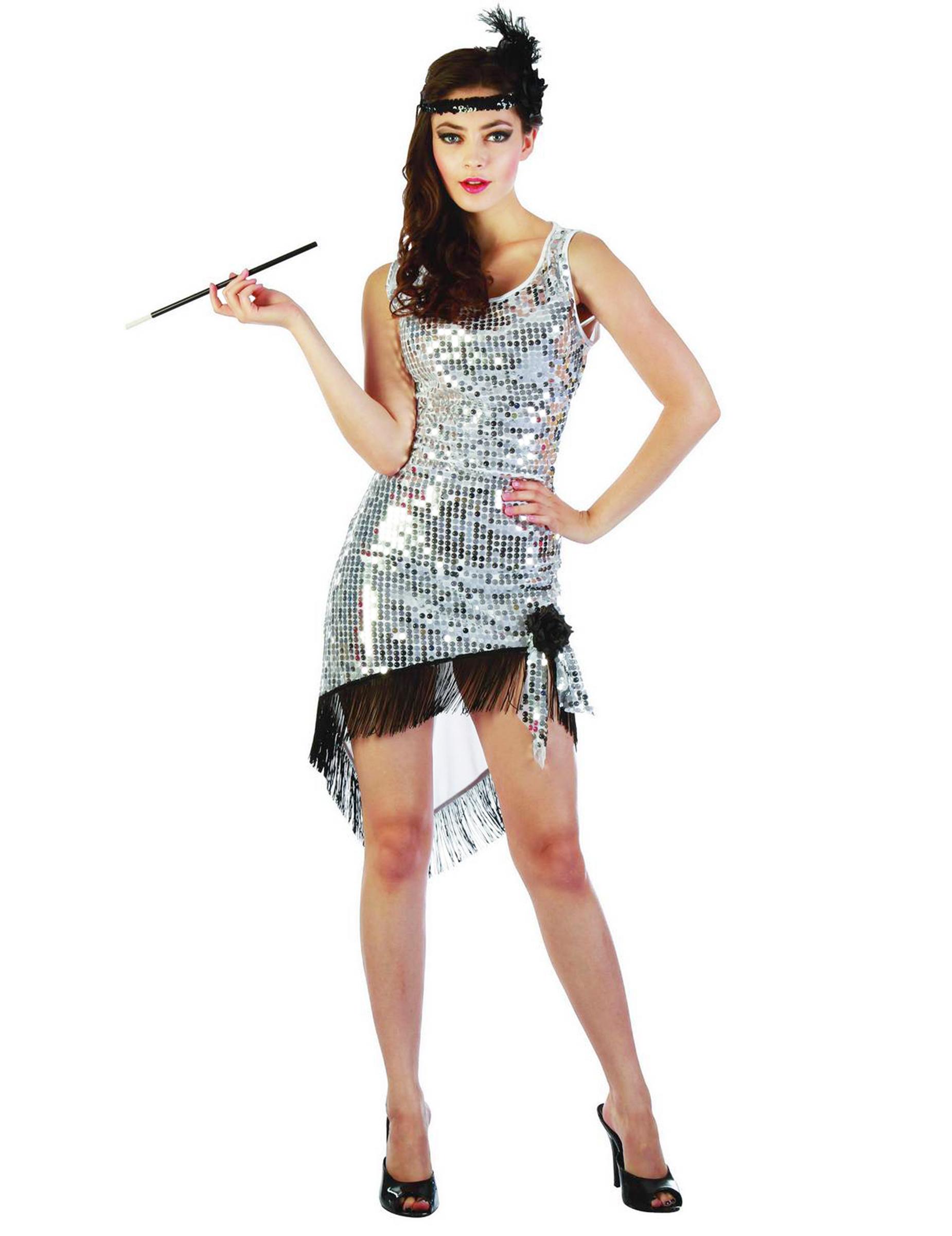 58d1c225bc7a Costume charleston sexy donna argentato  Costumi adulti