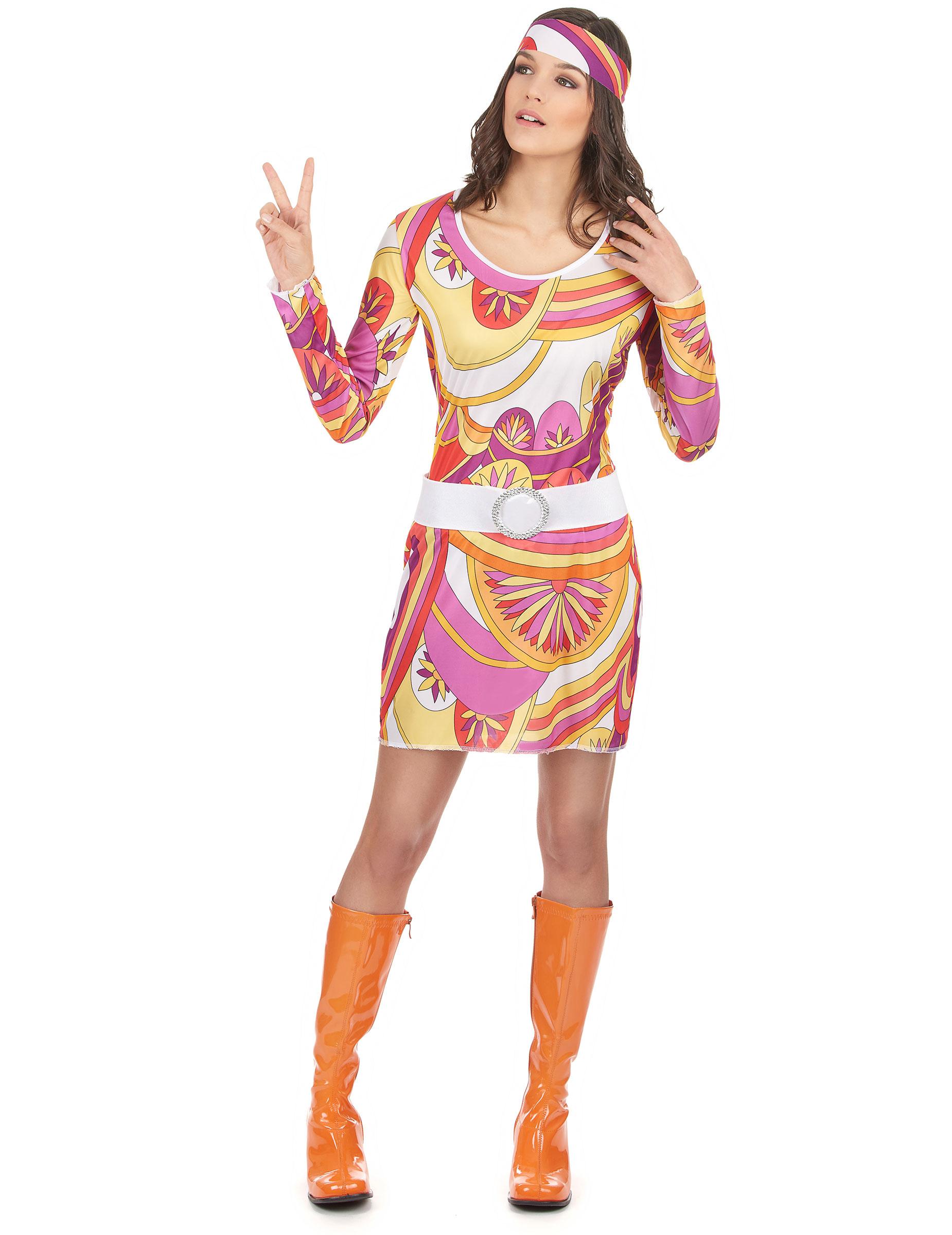 e7c034280d2e Costume hippie bianco e viola per donna  Costumi adulti