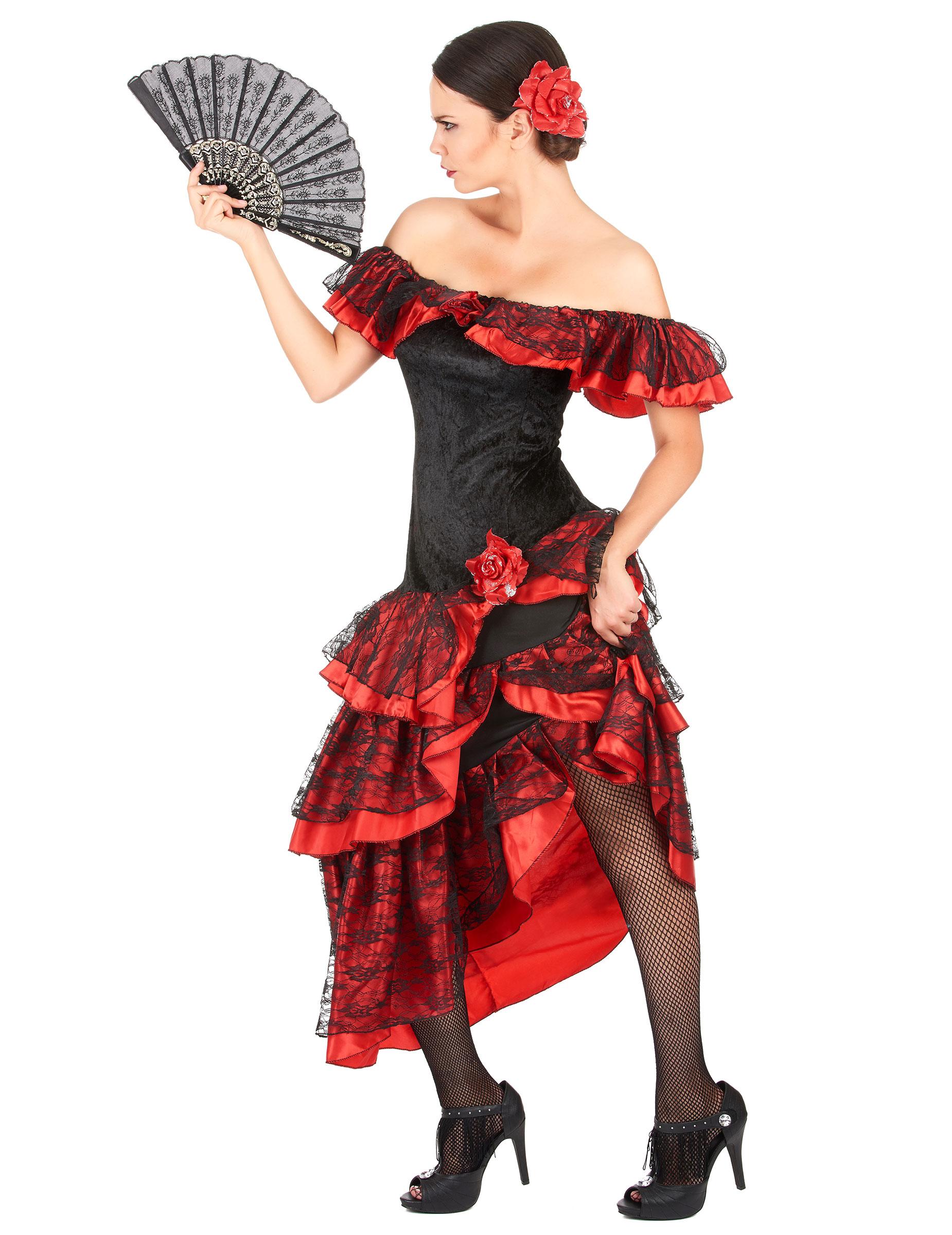 bde55cd6be31c Costume danzatrice di flamenco donna rossa e nera  Costumi adulti