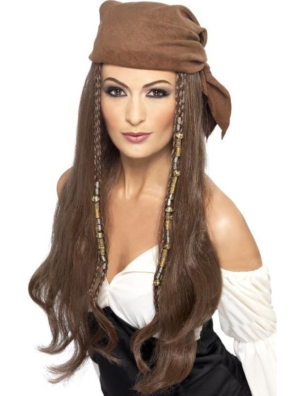 Pirata Pirati Hippie Hippy Donna Parrucca Lunga Capelli piratessa dei Pirati Costume Parrucca
