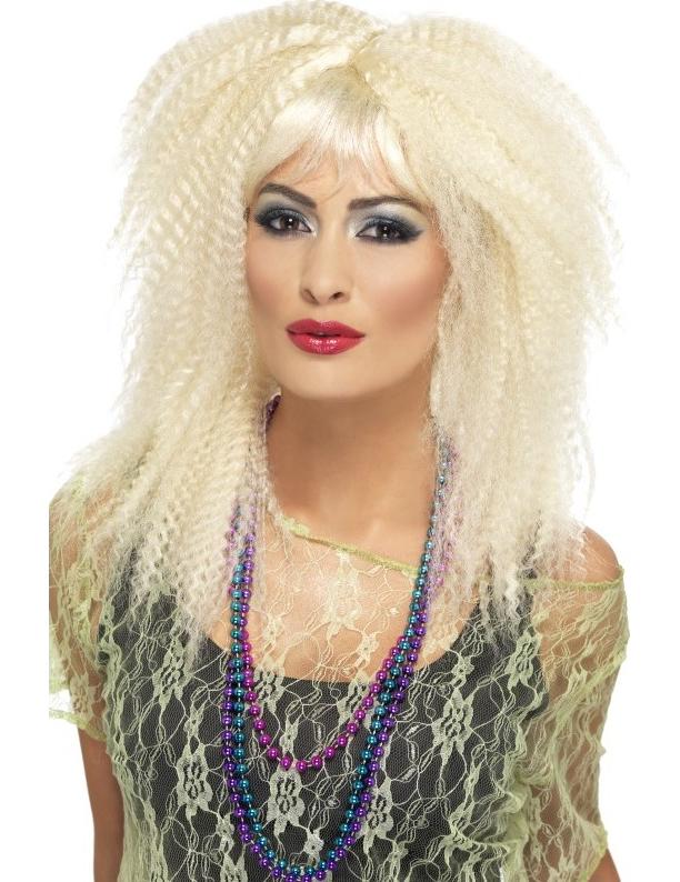 Parrucca bionda capelli crespi donna per completare un ...