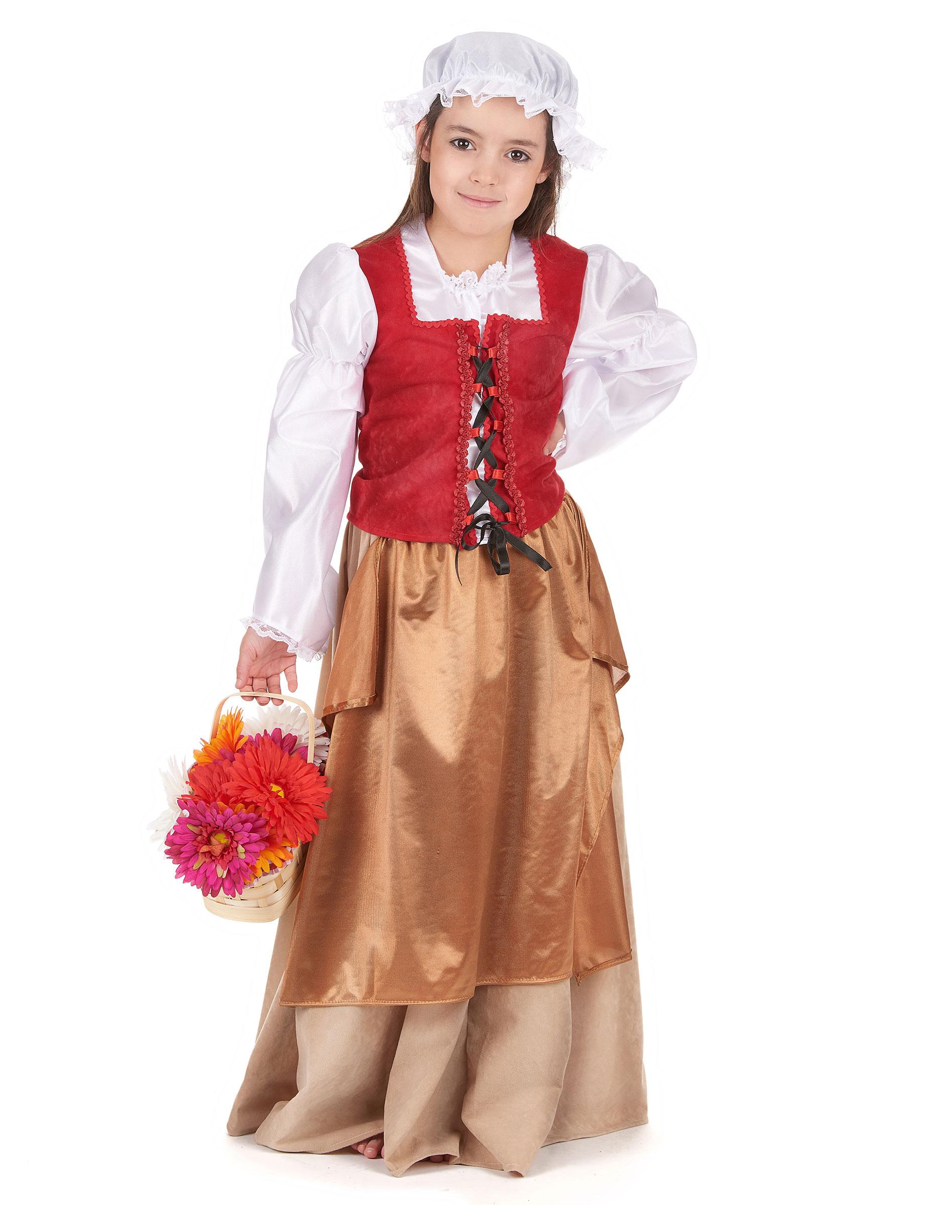 Travestimento Tradizionale Da Contadina Medievale Per Bambina