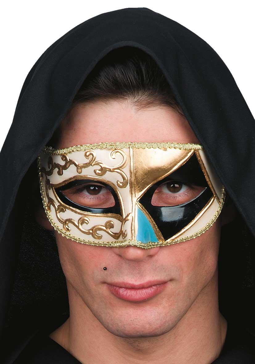 Maschera carnevale veneziana clown nera dorata per adulto uomo donna