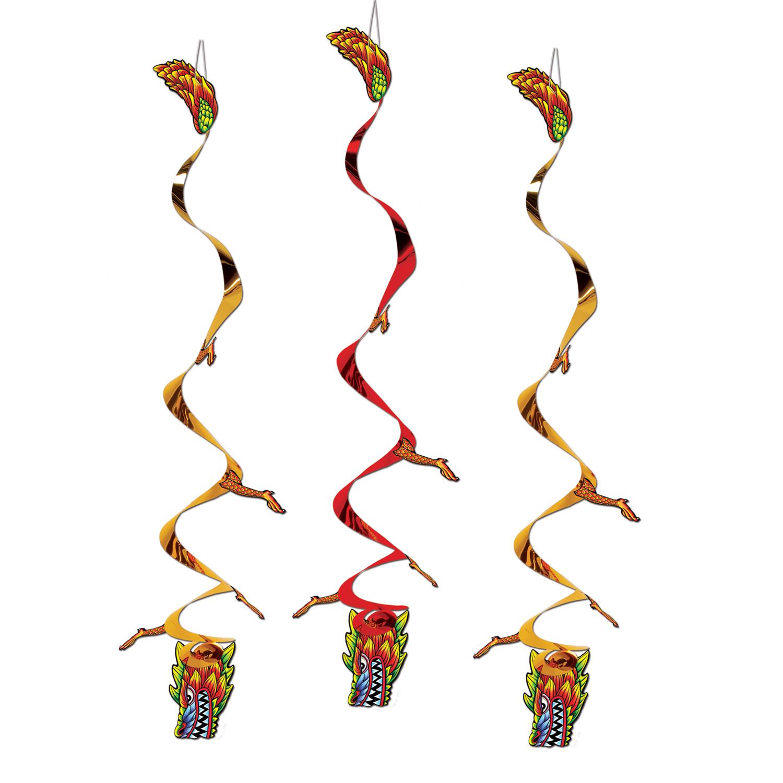 Addobbi a spirale draghi cinesi - Decorazioni sospese ...