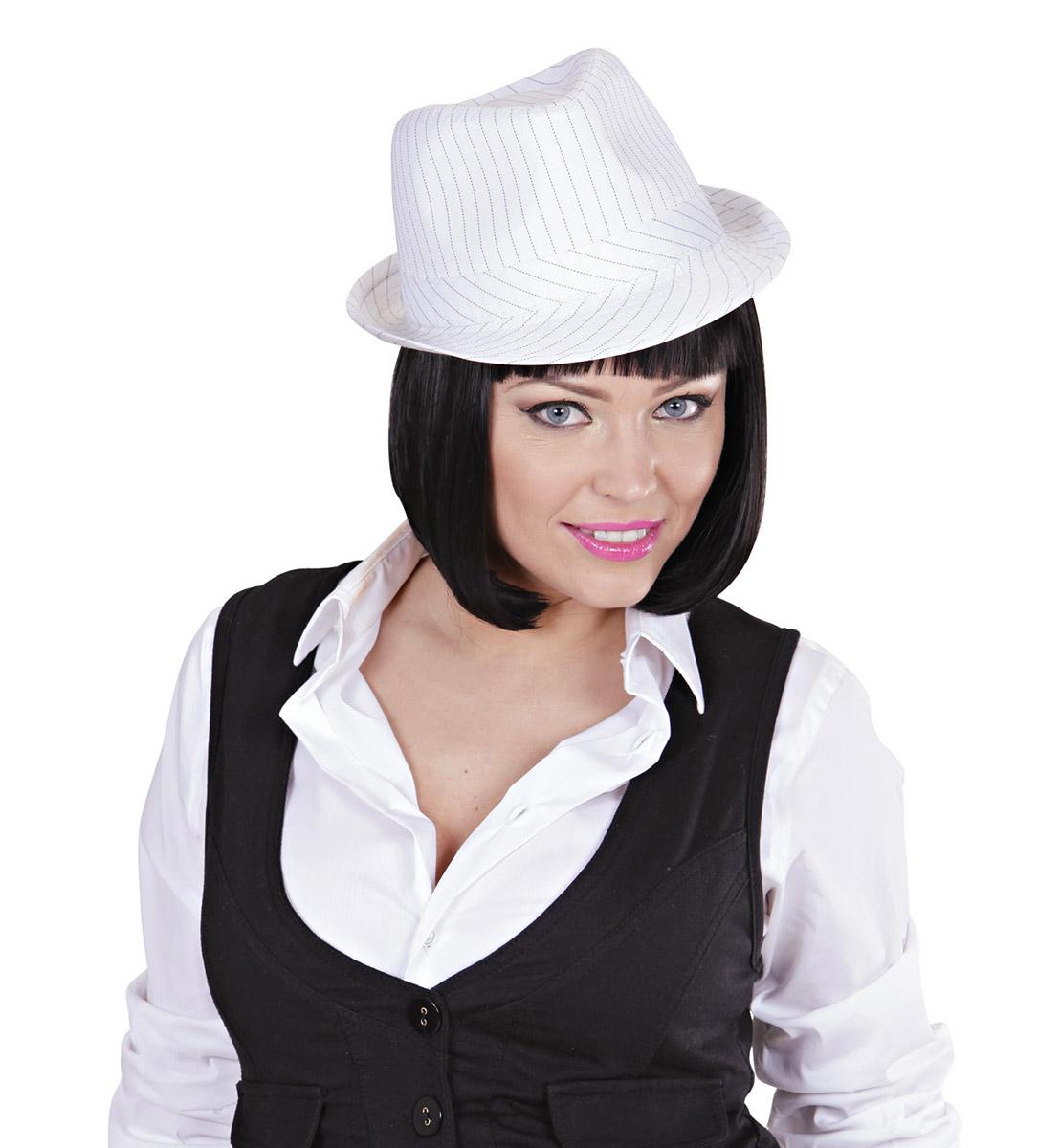 Cappello da gangster bianco adulto e tantissimi altri cappelli a prezzi  bassissimi! Cappelli per adulti e bambini a partire da 0.99€. a42950b6929c