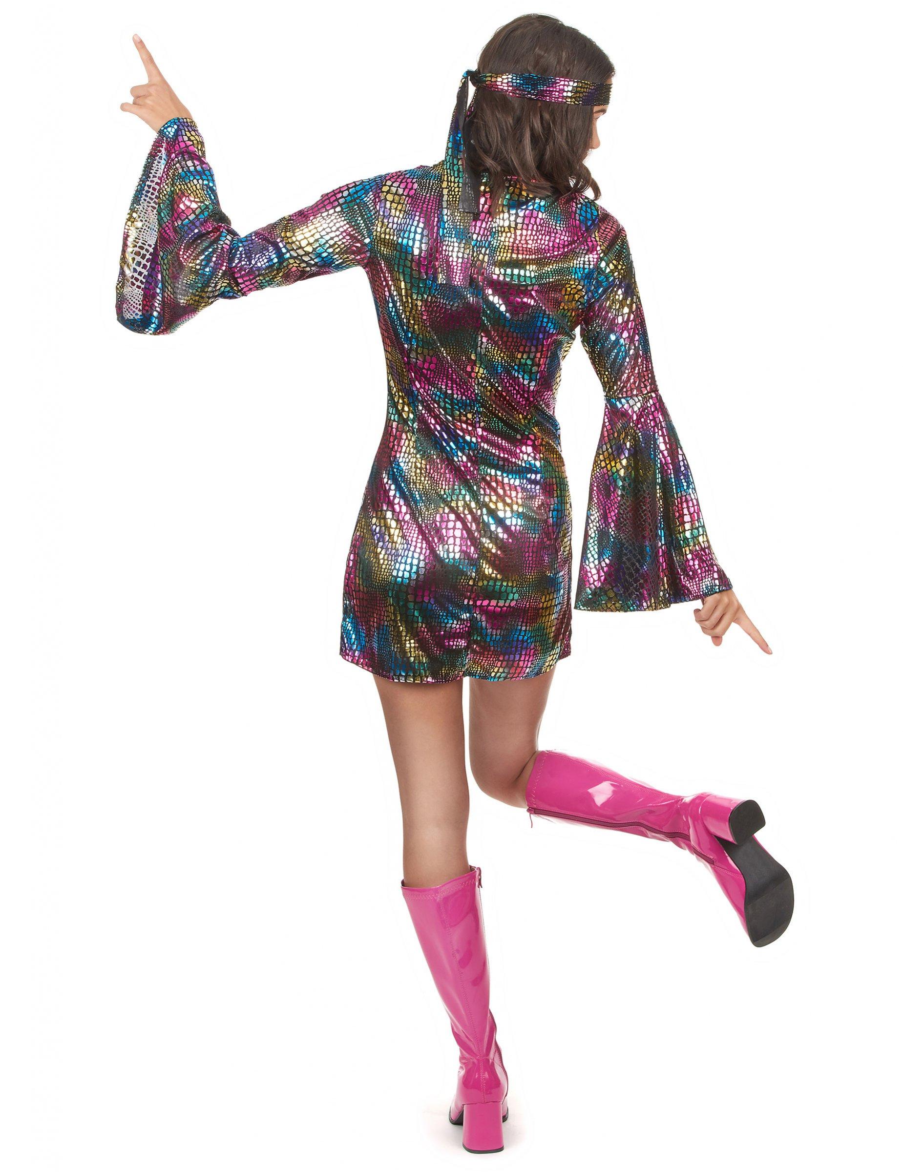 Vestito disco anni 70 multicolore da donna - Costume da bagno tricolore ...