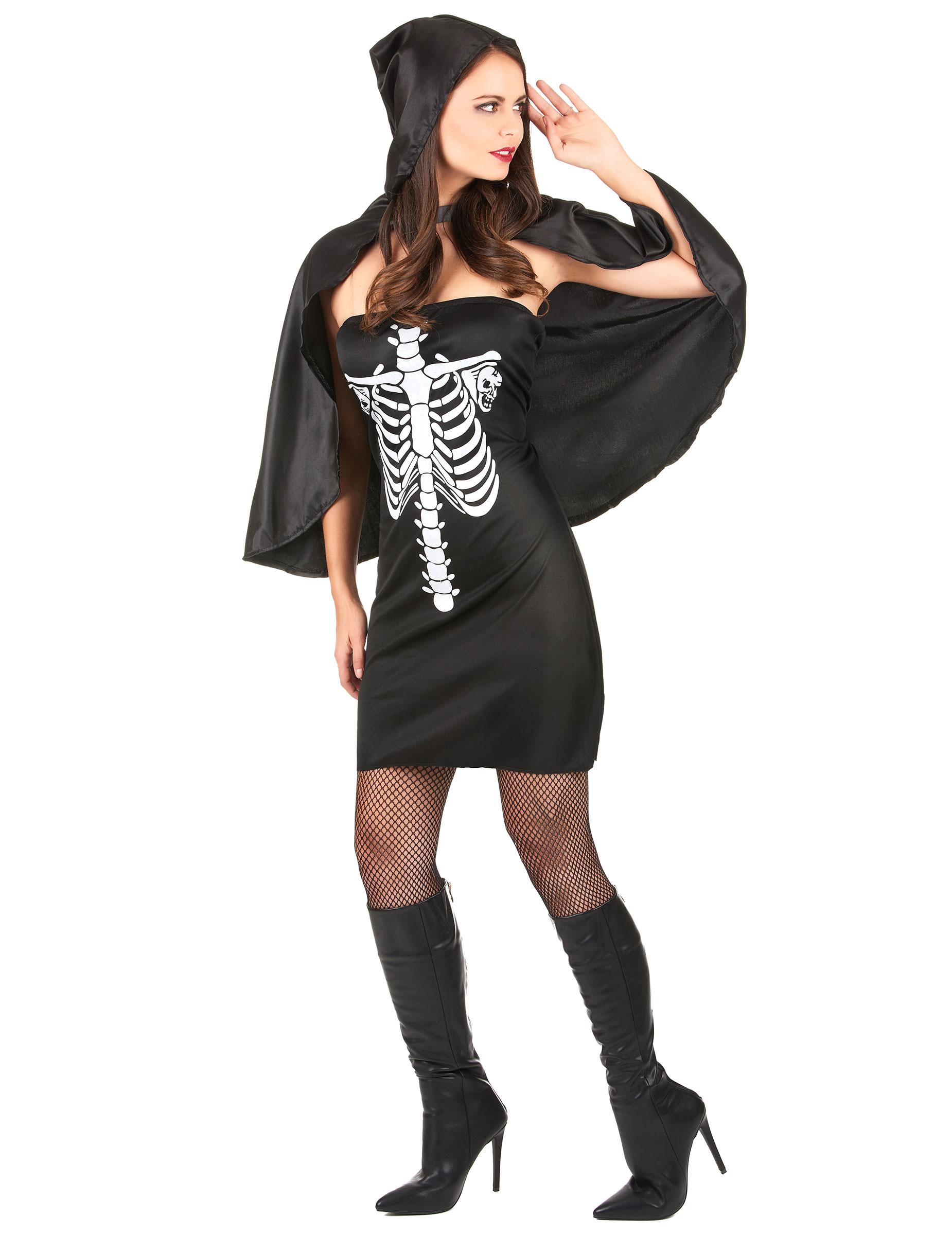 Costume scheletro cappuccio nero donna Halloween-1 b56f18152669