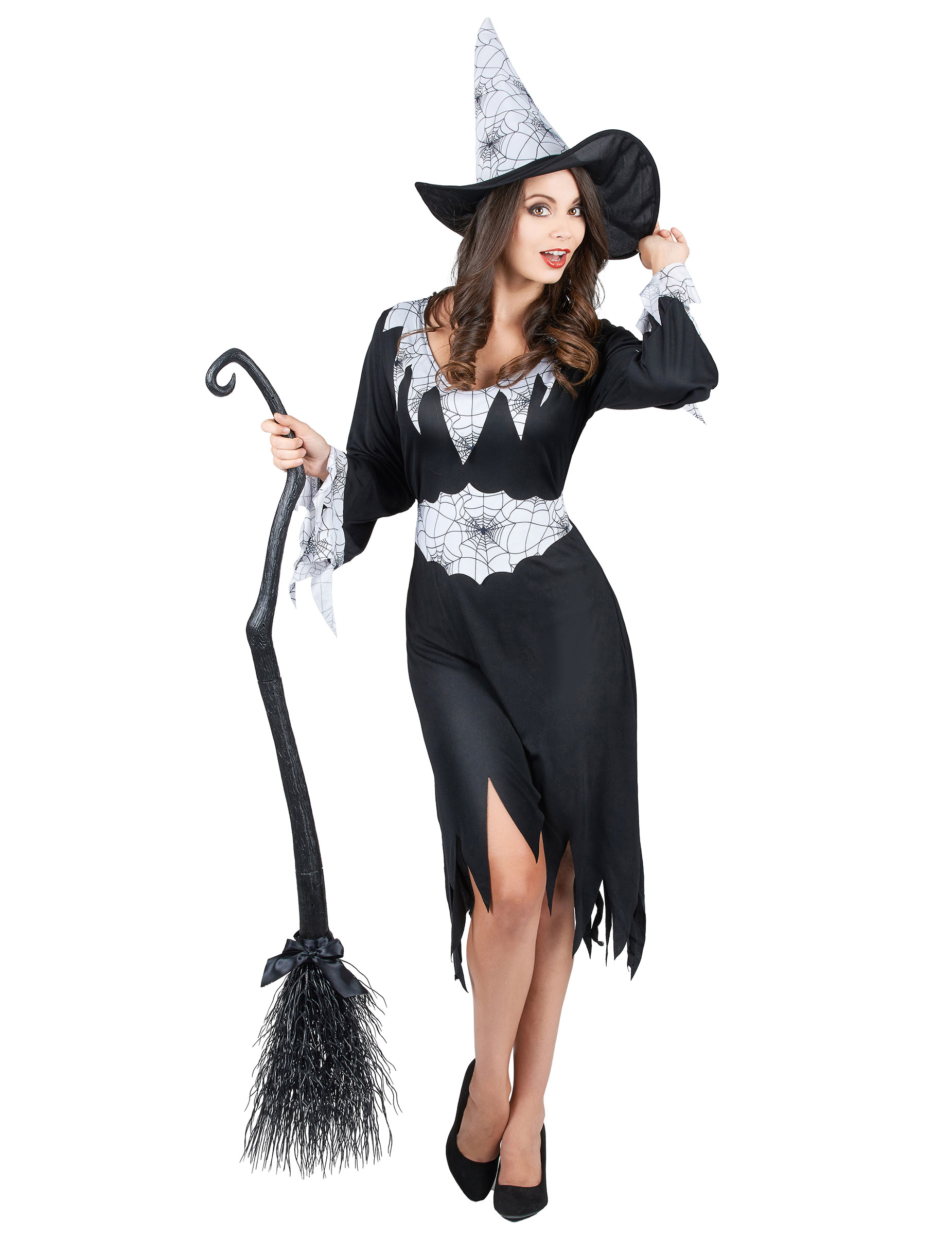 Vestiti Halloween Strega.Costume Da Strega Con Dettagli Ragnatela Per Donna