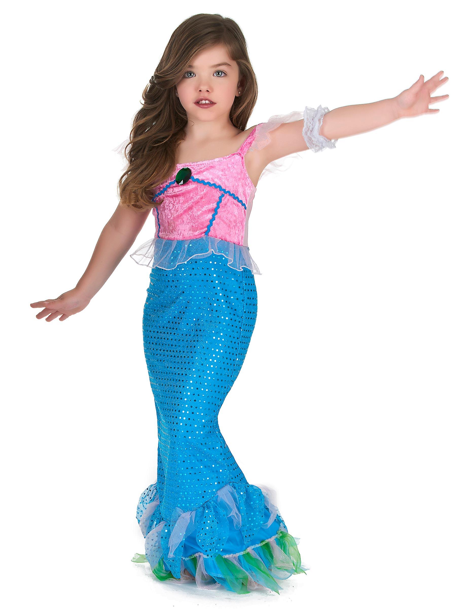 cerca il meglio grande sconto godere del prezzo più basso Costume da sirena in rosa e azzurro per bambina