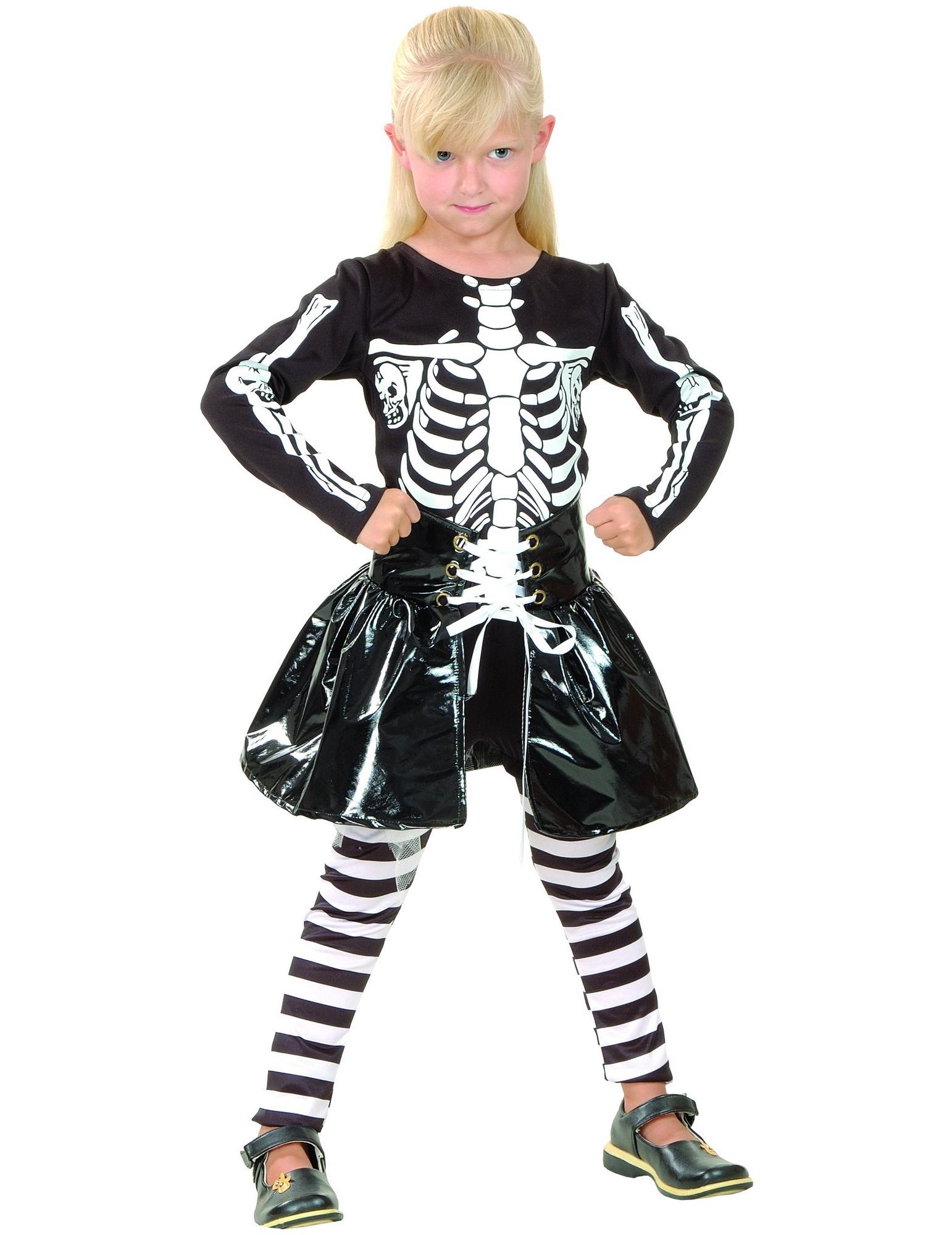 Vestito da bambina scheletro Halloween