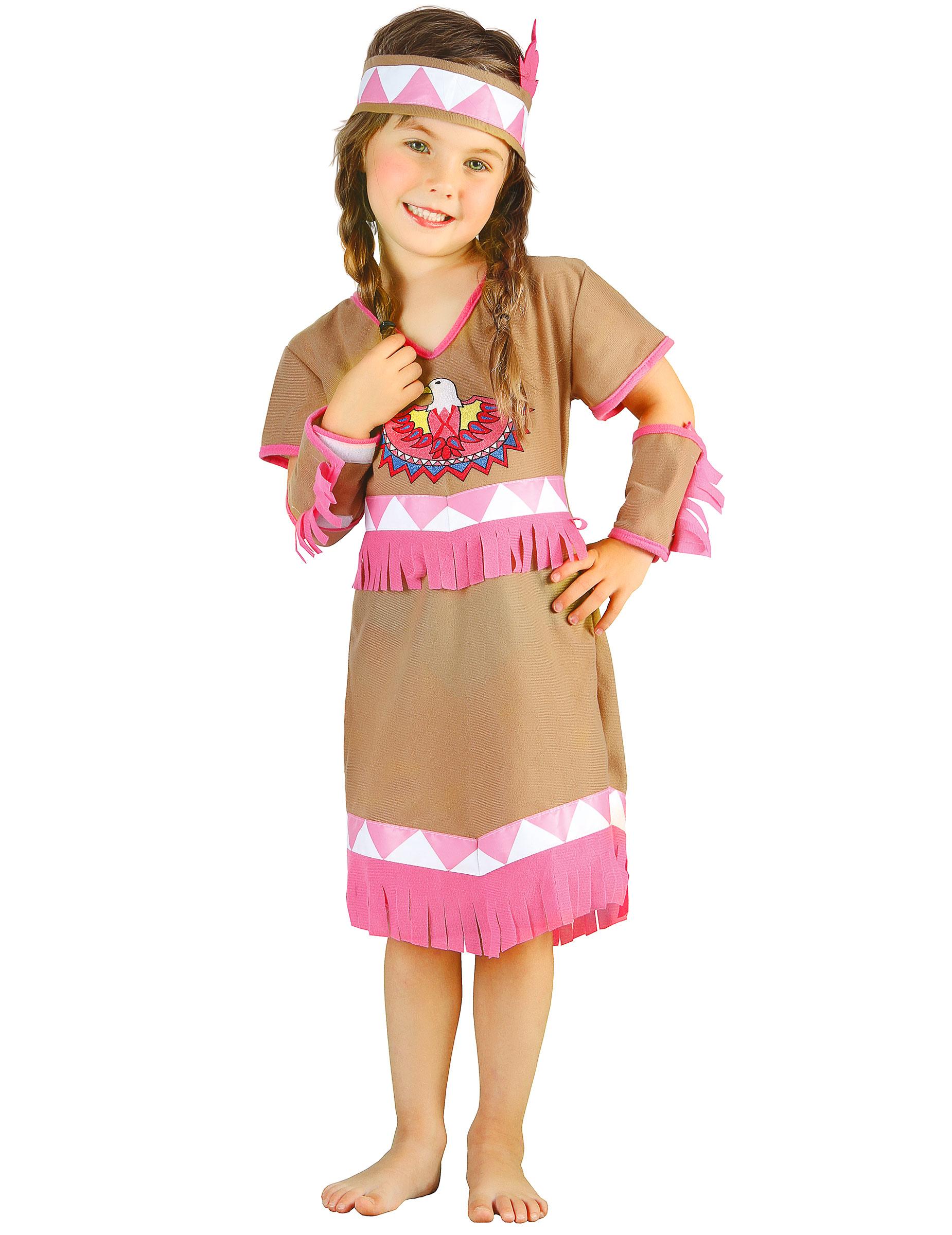 Costume indiana bianca e rosa per bambina,3