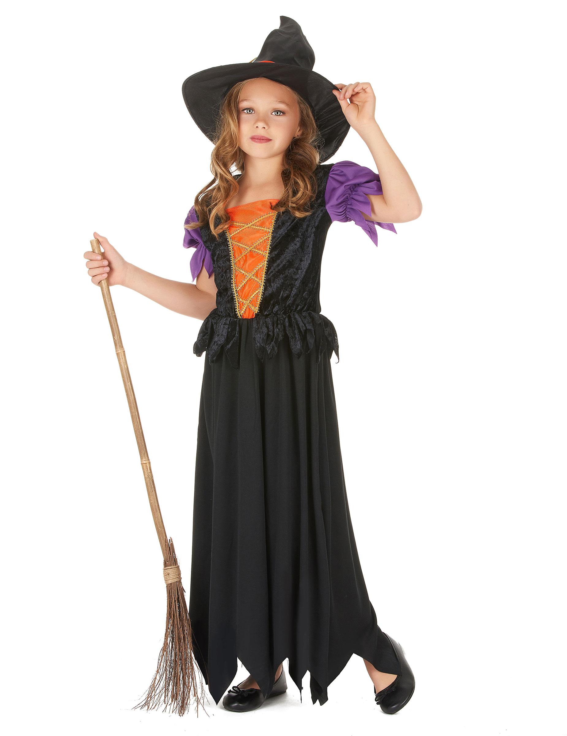 c5a4578c7a08 Costume strega nero e arancione bambina