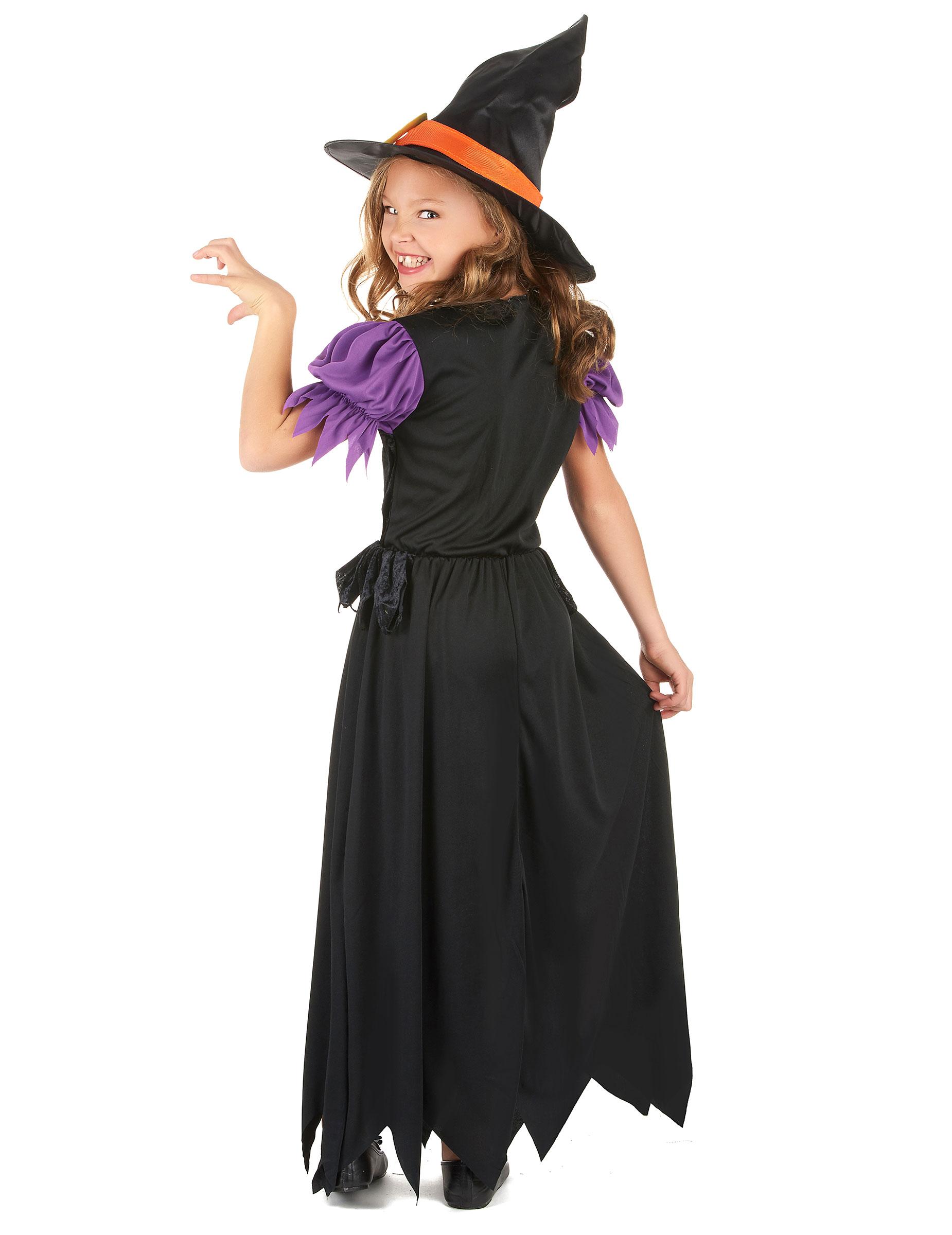 Vestiti Halloween Strega.Costume Strega Nero E Arancione Bambina