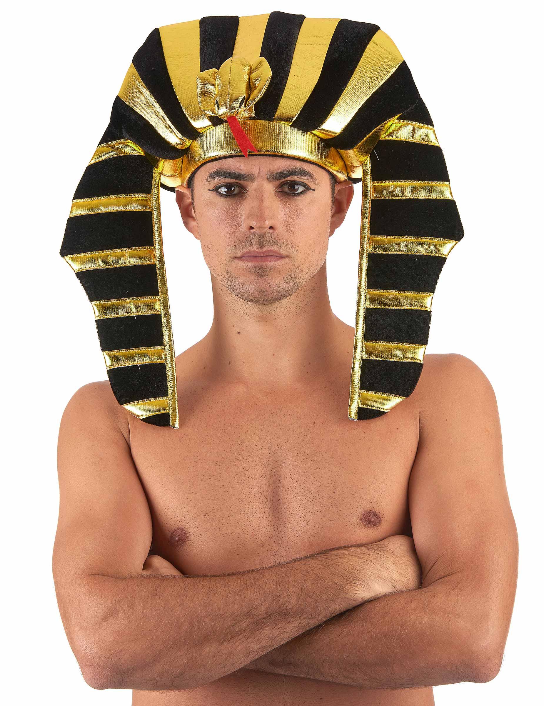 Accessorio per travestimento da faraone  copricapo dorato con testa ... 24dd28c51ff
