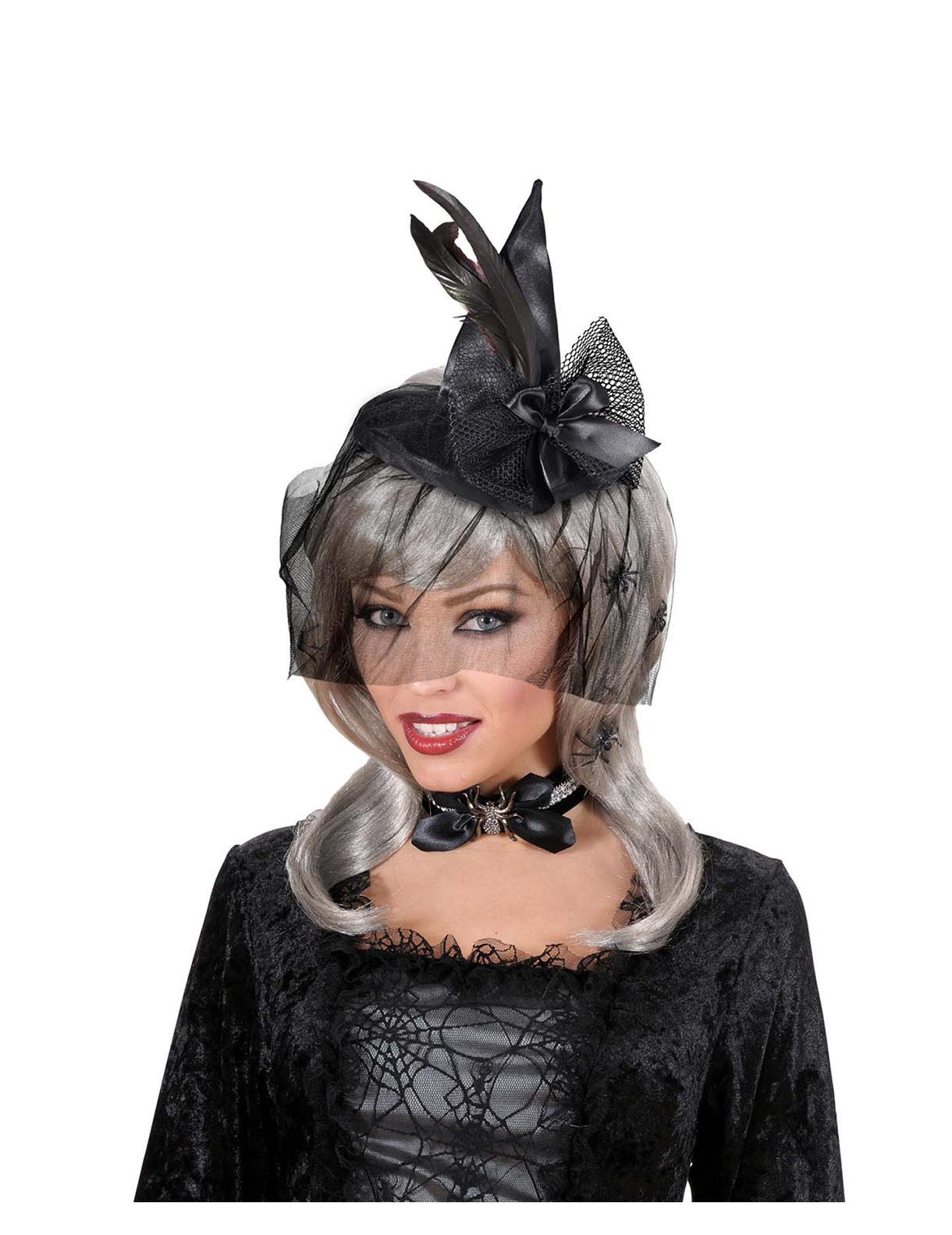 Cerchietto con mini-cappello da strega di Halloween con veletta e ragni 70f98c1b37a