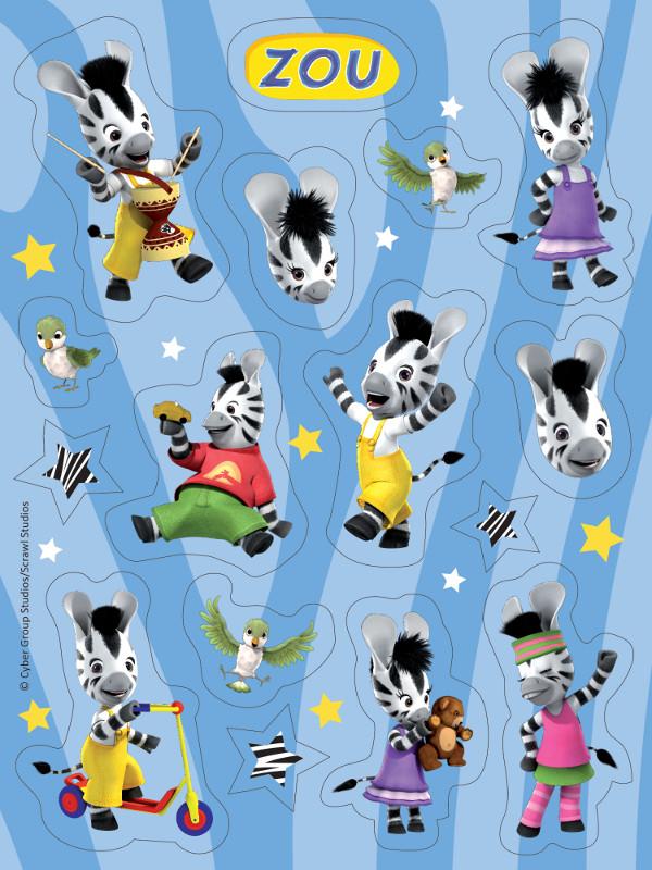Confezione da fogli di stickers zou la piccola zebra™