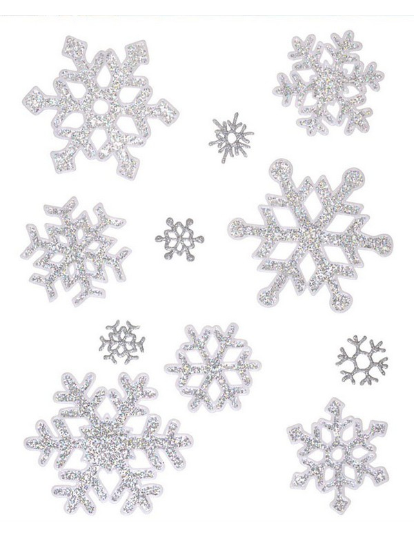Decorazione natalizia per finestre: stickers fiocco di neve argentati