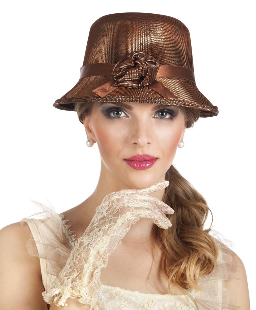Cappello marrone anni 20 per donna