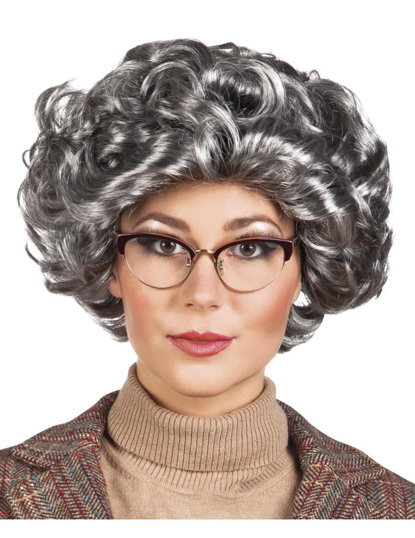 206408daafd6 Parrucca corta grigia da donna: Parrucche,e vestiti di carnevale ...